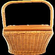 Hong Kong Wicker Basket Purse Hinged Wood Lid