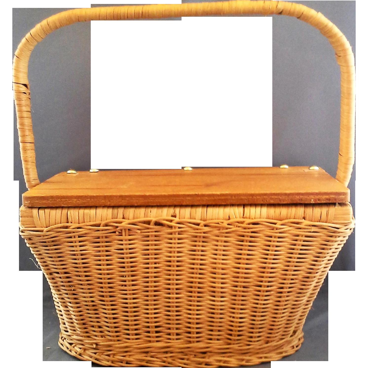 Wicker Basket With Hinged Lid : Hong kong wicker basket purse hinged wood lid hoosier
