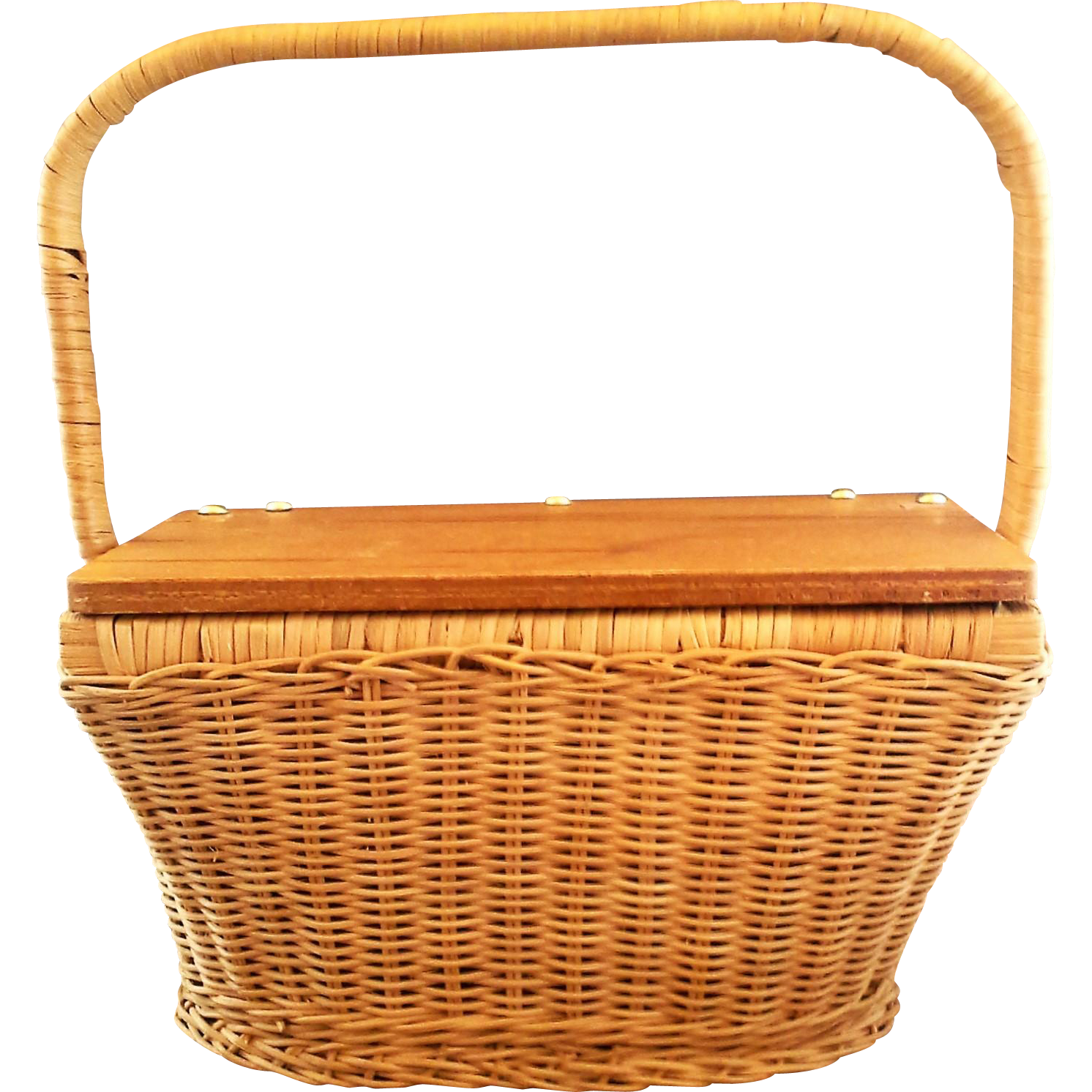 Hong Kong Wicker Basket Purse Hinged Wood Lid