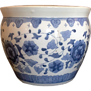 Blue White Porcelain Hand Painted Jardiniere Planter Pot Large 10 IN