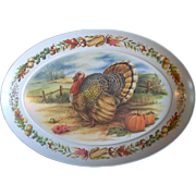 Brookpark Melmac Colorful Turkey Platter Large Oval 15 x 21 IN