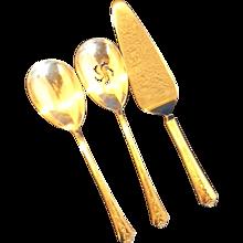 Holmes & Edwards Spring Garden Silverplate Serving Pieces Solid Casserole Spoon Pierced Spoon Pie Server