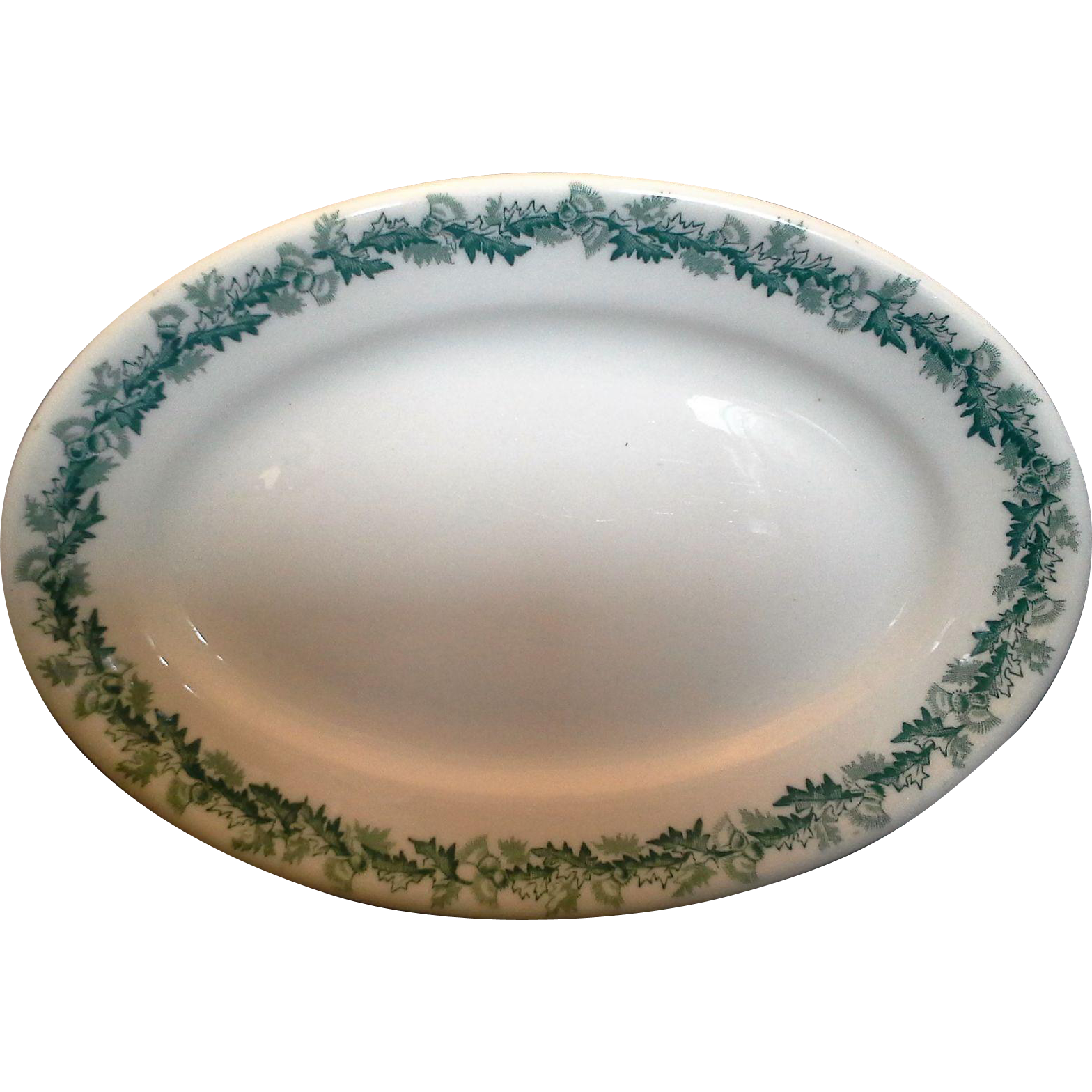 Shenango Restaurant Ware Green Thistle Oval Plate Small