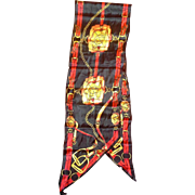 Honey Signed Equestrian Black Red Oblong Silk Scarf Made in Japan