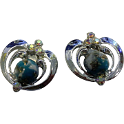 Turquoise Gold Speckled Easter Egg Glass Cab Earrings AB Rhinestones