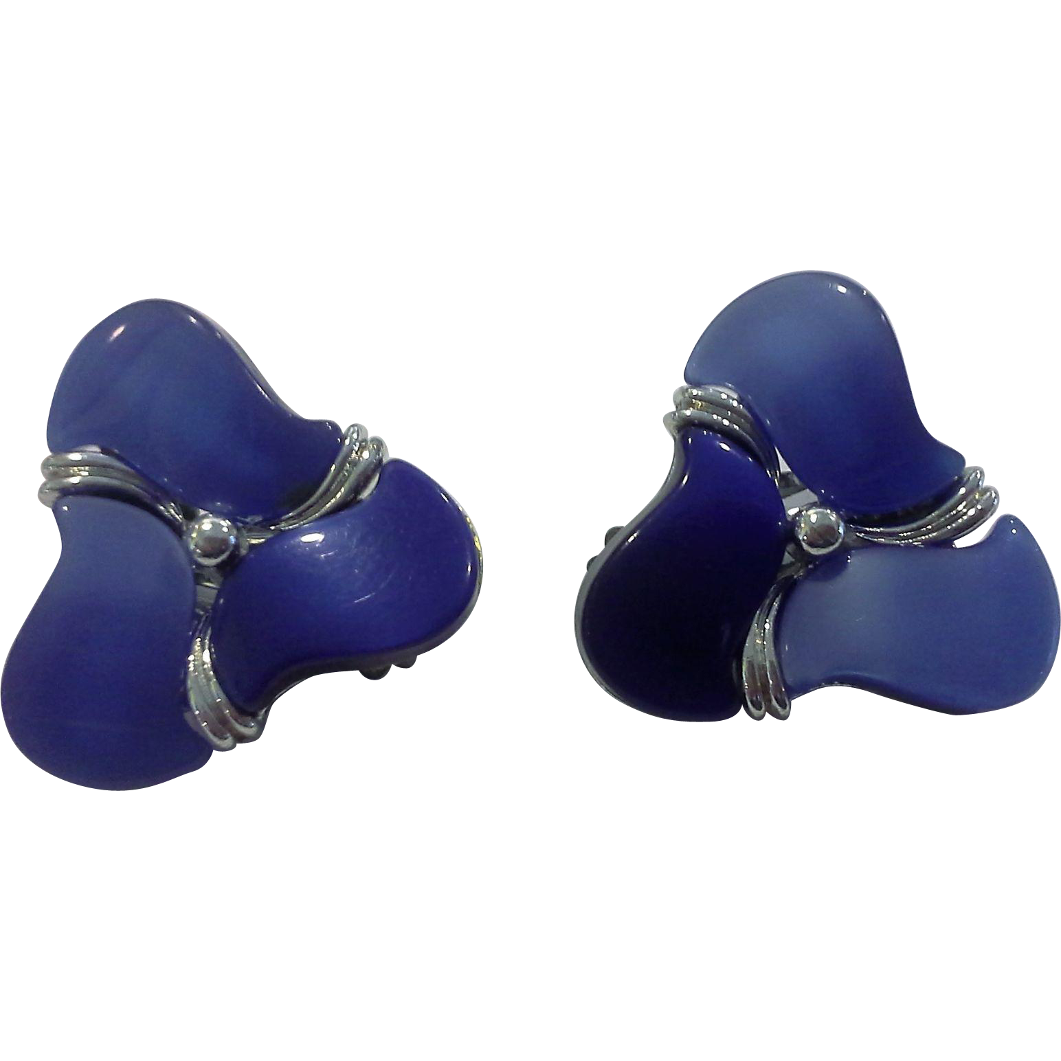 Star Signed Cornflower Blue Moonglow Lucite Clip Earrings