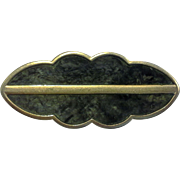 Monet Green Marbled Enamel Gold Tone Scalloped Bar Pin