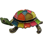 Neon Enamel Multicolor Turtle Tortoise Figural Pin