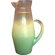 Blendo West Virginia Glass Aqua Turquoise Blue Gold Trim Tall Pitcher