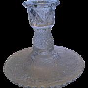 Duncan & Miller Sandwich Glass Clear Single Light Candle Holder Taper