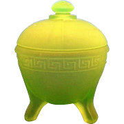 Vaseline Uranium Green Glass Frosted Greek Key Powder Jar 1930s Depression L.E. Smith Taussaunt Glass