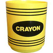 Yellow Crayon Plastic Cup Made in Hong Kong Deka Plastics