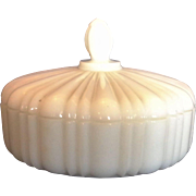 Anchor Hocking Old Cafe White Milk Glass Candy Dish Round Box