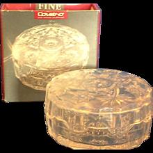 "Italy Prescut Star of David 4"" Powder Box Dresser Jar Clear Glass"