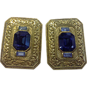 Blue Rhinestone Gold Tone Byzantine Style Large Clip Earrings