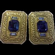 Blue Rhinestone Gold Tone Byzantine Style Large Clip Earrings
