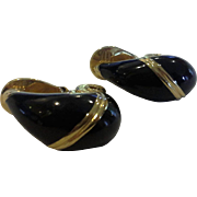 Monet Black Enamel Gold Tone Clip Earring Teardrops