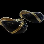 Monet Black Enamel Gold Tone Clip Earring Teardrops