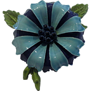 Sky Blue Navy Blue Green Enamel Flower Power Pin
