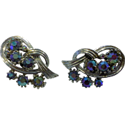 Blue Aurora Borealis Rhinestone Coro Signed Clip Earrings