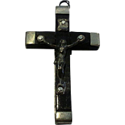 Sterling Wood Crucifix Pendant Roma Italy
