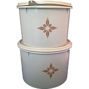 Tupperware 265-11 Cream Canisters Pair Almond Beige Brown Gold Design