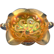 Dugan Question Mark Marigold Carnival Glass Handled BonBon Dish