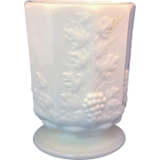 Westmoreland Paneled Grape Milk Glass Short Vase Footed Tumbler