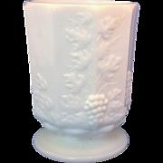 Westmoreland Paneled Grape Milk Glass Short Vase Footed Tumbler