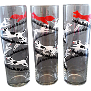 Tally Ho Fox Hunt Libbey Tom Collins Lemonade Iced Tea Coolers Glass Tumblers Tall Skinny