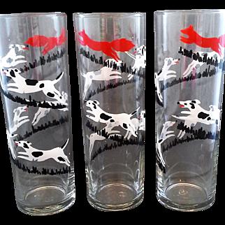 Tally Ho Fox Hunt Libbey Tom Collins Lemonade Iced Tea Coolers Glass Tumblers Tall Skinny