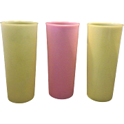 Tupperware Pastel Yellow Pink 18 Oz Tumblers Set of 3