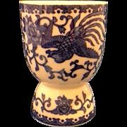 Noritake Howo Blue White Phoenix Double Egg Cup Porcelain
