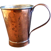 Hammered Copper Mug Stein Signed Arts Crafts Style Tin Lined