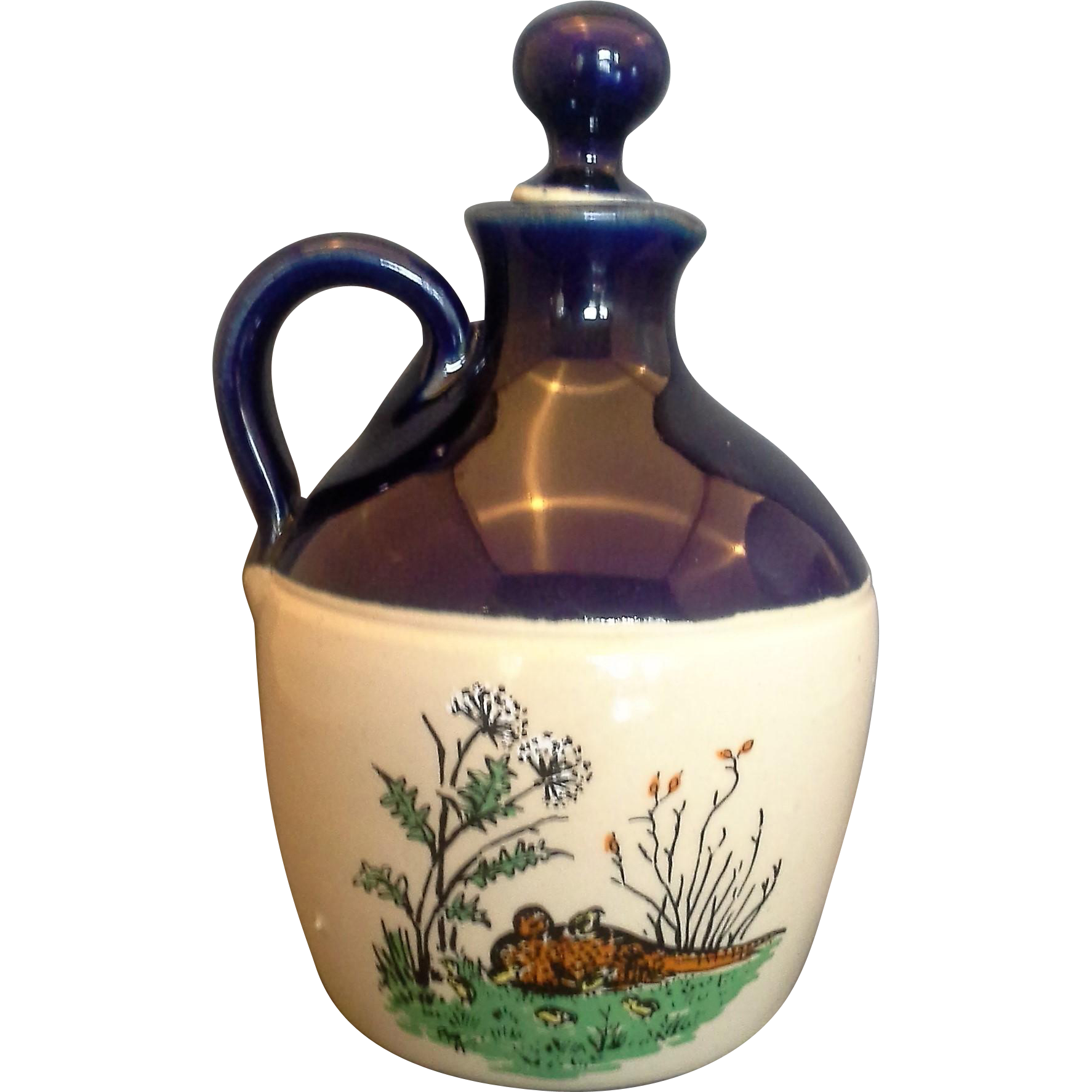 Govancroft Stoneware Jug Cobalt Blue Top Pheasant Decoration Made in Scotland