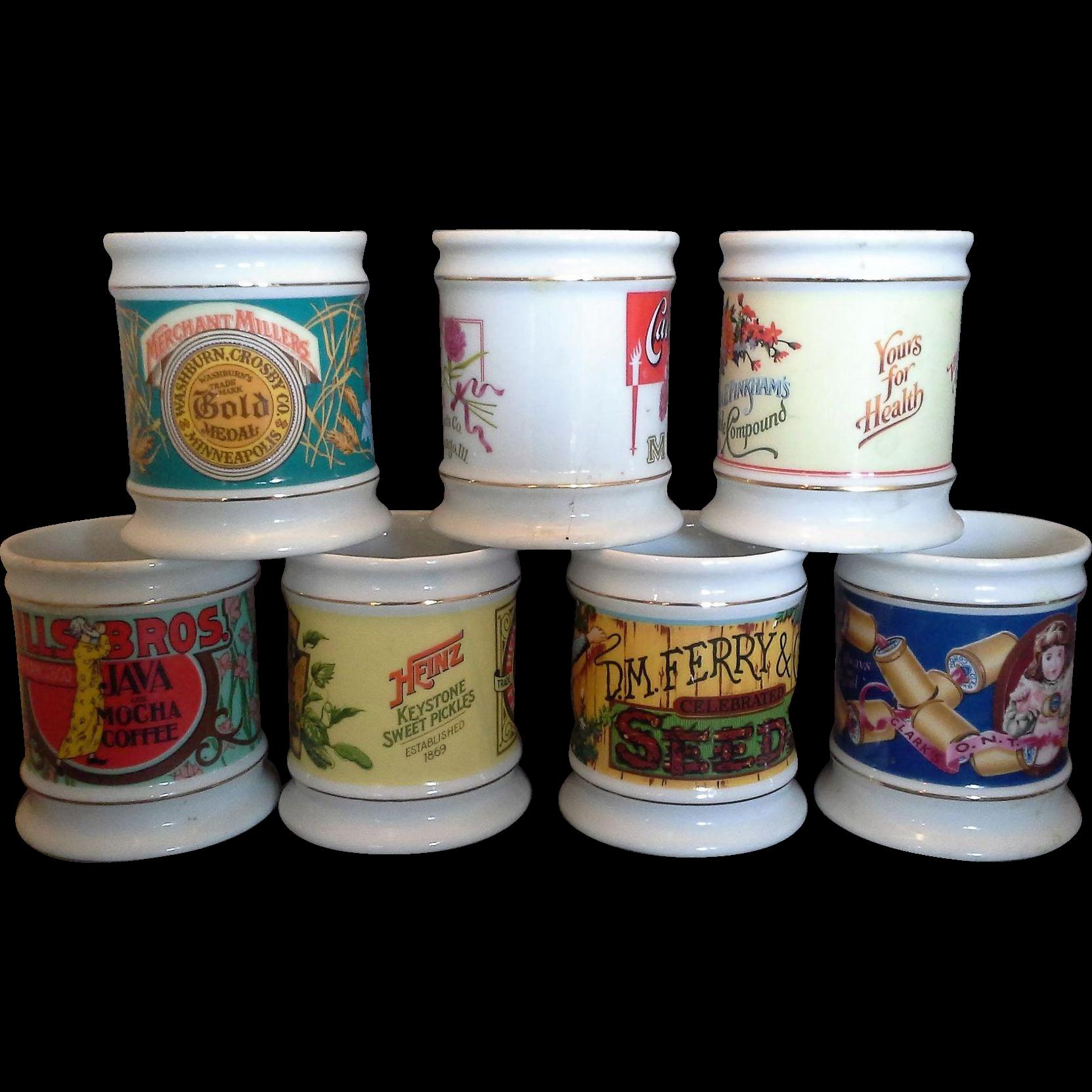 The Corner Store Vintage Advertising Porcelain Mugs Set of 7 Heinz Pinkham Ferry Carnation Clarks Hills Bros Gold Medal