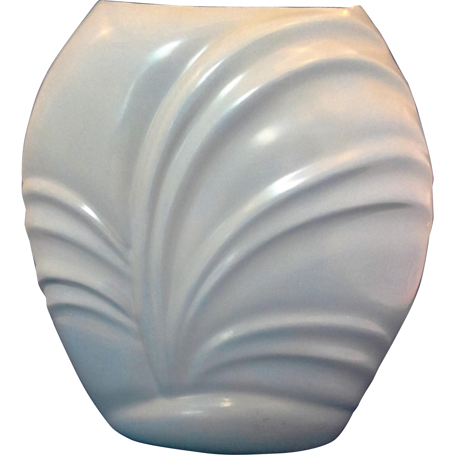 Blue Glazed Nude Woman Swirl Shell Vase