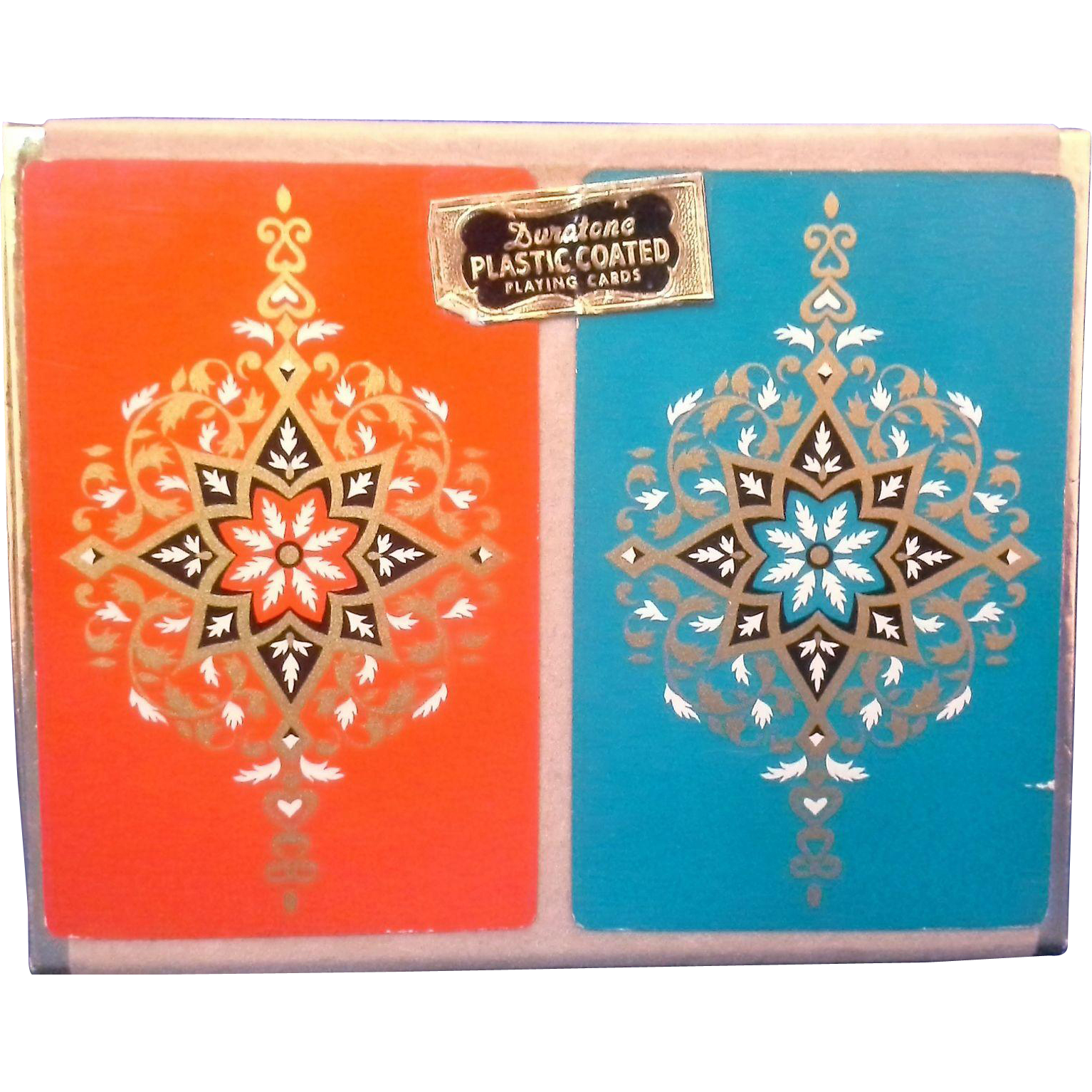 Duratone Plastic Coated Playing Cards Double Deck Red Teal Gold
