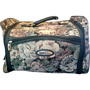 Vintage American Flyer Overnight Bag Luggage Case Green Multi-Color Floral Tapestry Women