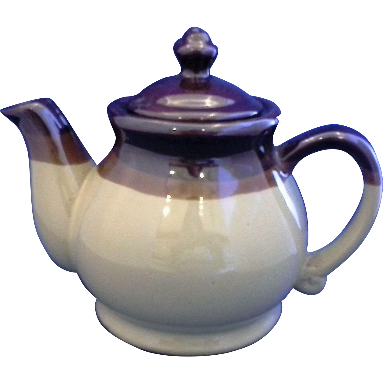 Brown Glaze Two Tone Stoneware Pottery Teapot