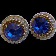 Coro Royal Blue Large Rhinestone Screwback Earrings Faux Pearls