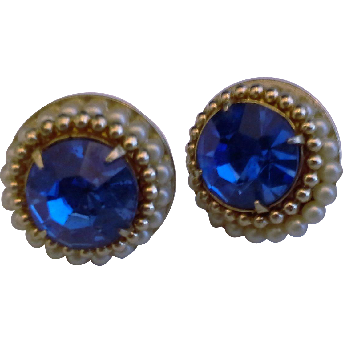 Coro Royal Blue Large Rhinestone Screwback Earrings Faux Pearls