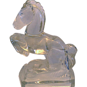 L.E. Smith Horse Bookend Crystal 1940s