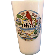 Ohio Hazel Atlas Platonite Milk Glass Souvenir Tumbler