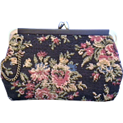 Black Red Roses Tapestry Carpet Bag Clutch Red Lining