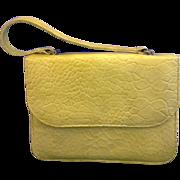 Mar-Shel Vintage Yellow Handbag Faux Alligator Vinyl Moc Croc