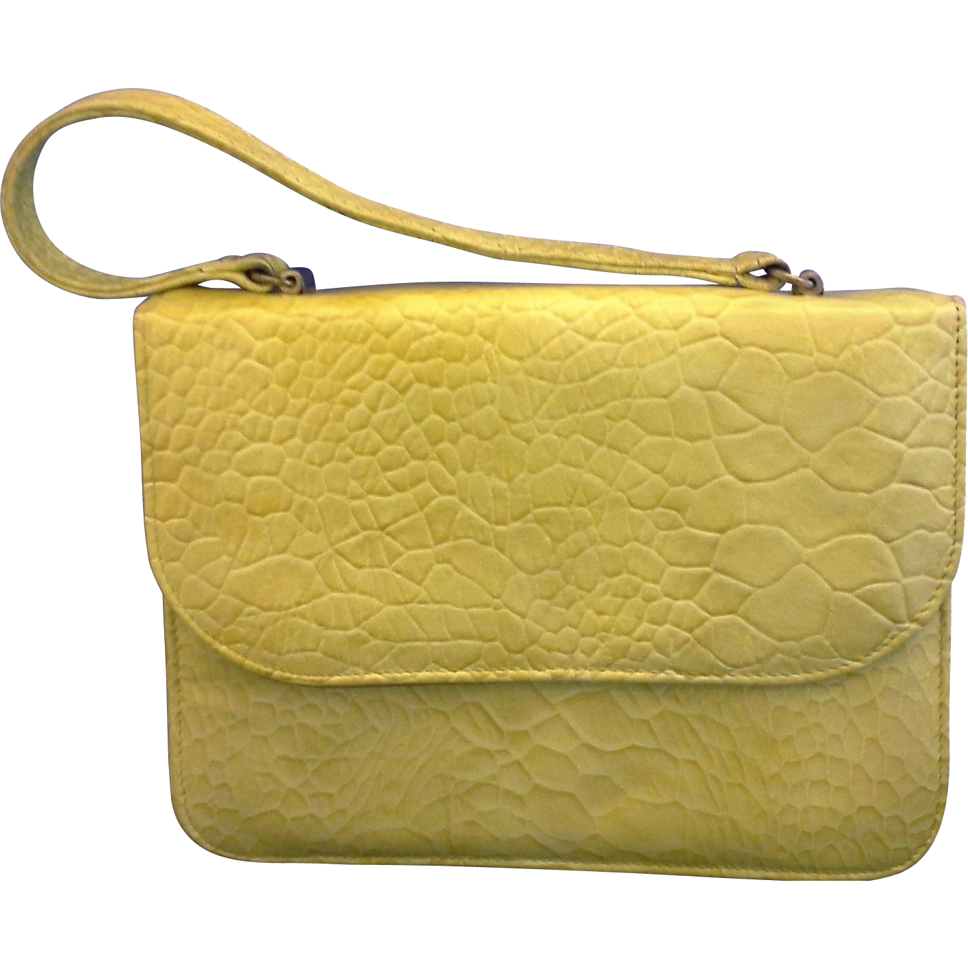 Mar-Shel Vintage Yellow Handbag Faux Alligator Vinyl Moc Croc