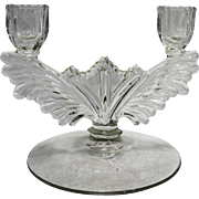 Tiffin 5904 Double Light Candle Holder Wing Shape Elegant Glass