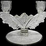 Tiffin 5904 Double Light Candle Holder Wing Shape Elegant Glass