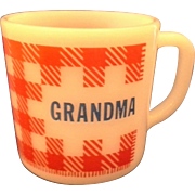 Grandma Red Check Gingham Plaid Milk Glass Mug Westfield Federal